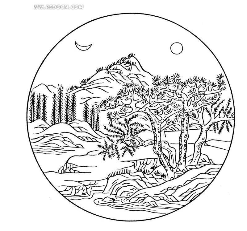 手绘古典山水风景画线稿ai免费下载_传统图案素材