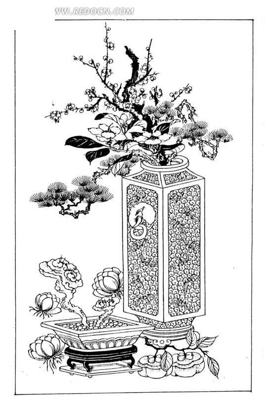 传统 古代 吉祥图案 新韶如意  花瓶 山茶花 松 梅 百合花 柿 灵芝 矢