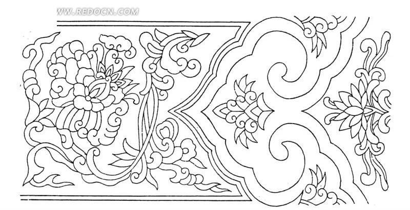 中国古典图案-卷曲纹花朵和如意纹构成的精美图案图片