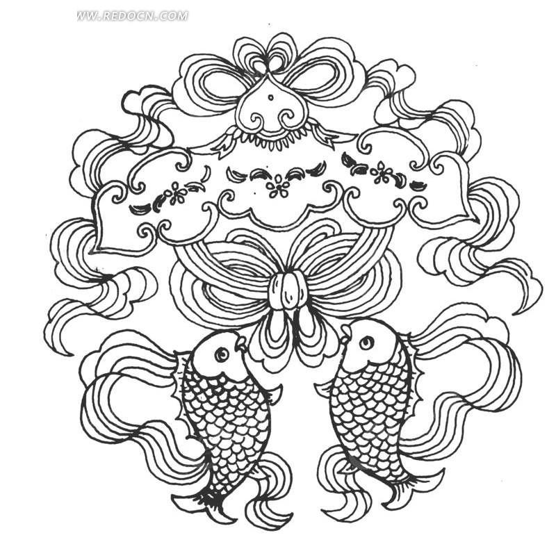 矢量手绘花纹鱼儿曲线图形