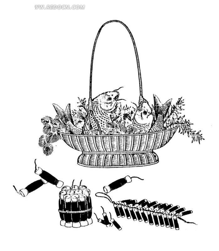 免费素材 矢量素材 艺术文化 传统图案 中国古典图案-篮子里的鱼海藻