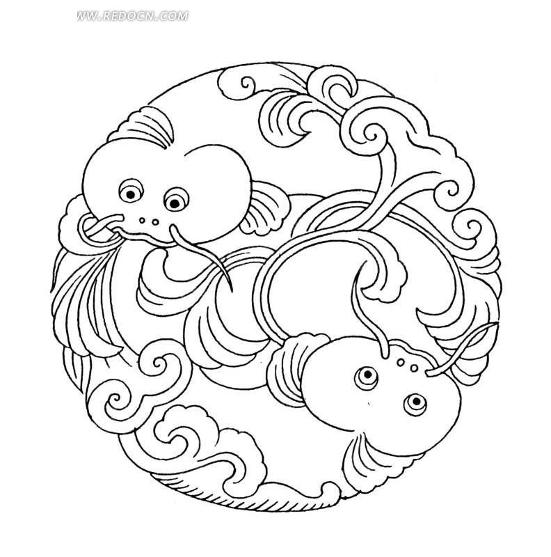 矢量手绘创意双鱼圆形曲线