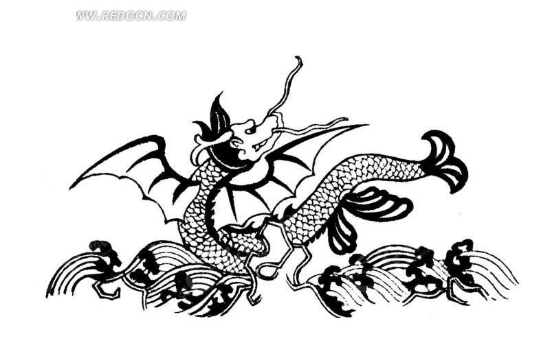 手绘大海翻腾的鱼形龙ai免费下载_传统图案素材图片