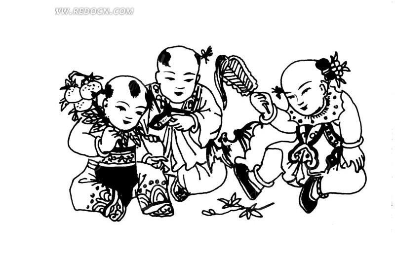 矢量手绘古代小孩人物插画图形