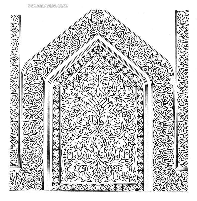 古代元素 手绘插画