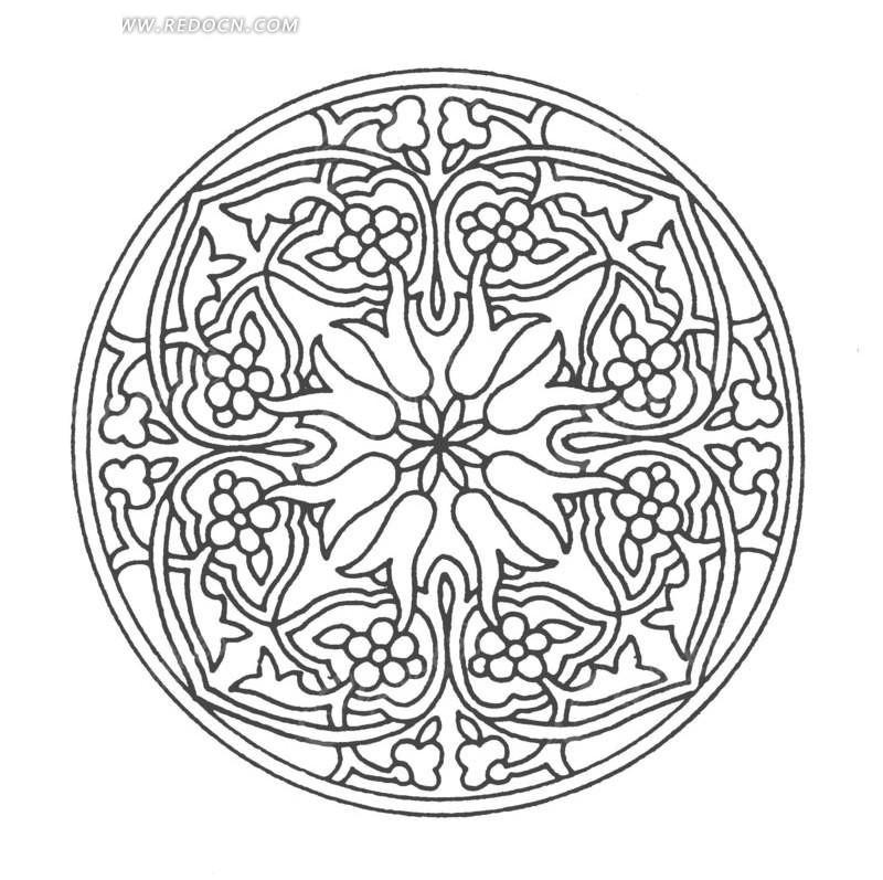 中国古典图案-花朵和曲线构成的圆形图案