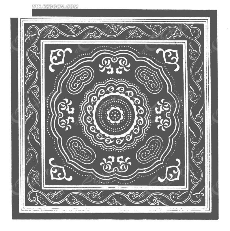 中国古典图案-卷曲纹和如意纹构成的方形图案图片