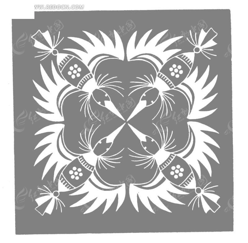 免费素材 矢量素材 艺术文化 传统图案 手绘展翅环绕对称蜂鸟  请您分