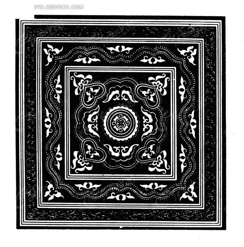 中国古典图案-蝴蝶和波浪纹构成的方形图案图片