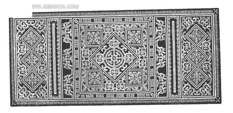 中国古典图案-方形和卷曲纹构成的精美图案图片