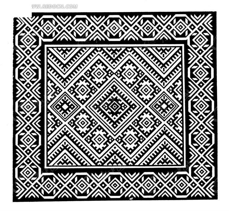 中国古典图案-菱形构成的方形图案图片