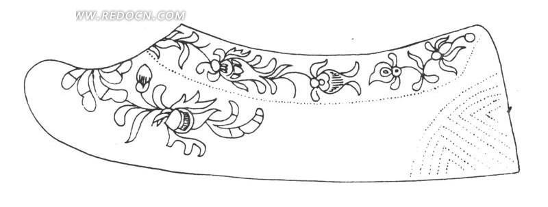 古代女人鞋子侧面线条画ai矢量文件图片