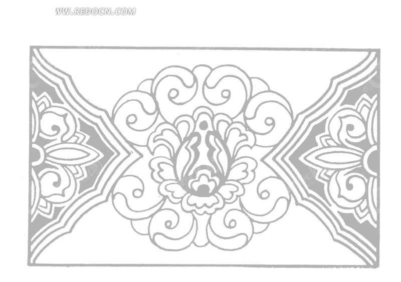 卷曲纹 花朵 长方形图案 对称图案 黑白 线描图 中国古典 艺术 装饰