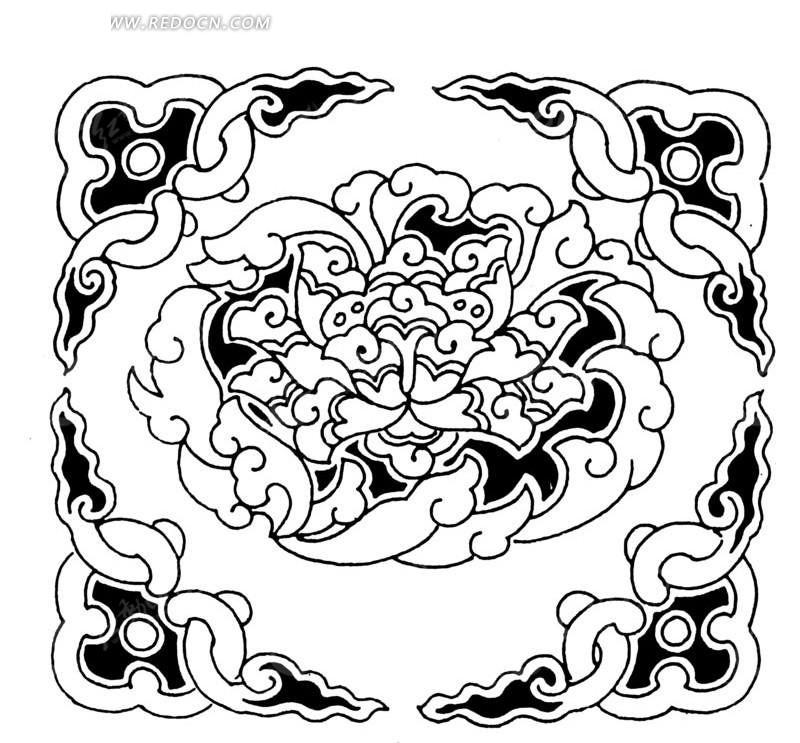 中国传统元素黑白矢量图 中国传统元素黑白矢量图 手绘古代凉亭黑白