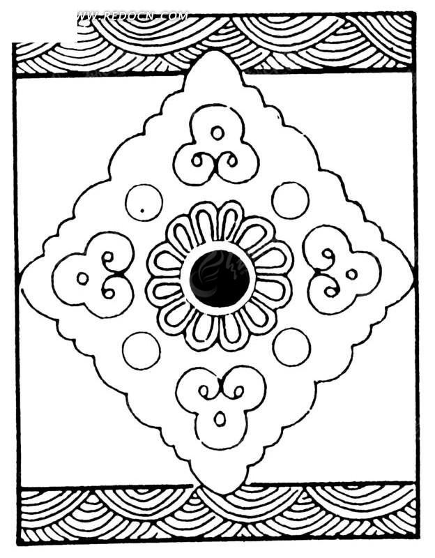 上下边水纹/连弧边菱形/花瓣纹构成的图案矢量图_传统