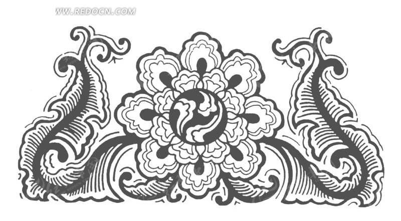 手绘荷花与两条金鱼的镂空剪纸矢量素材