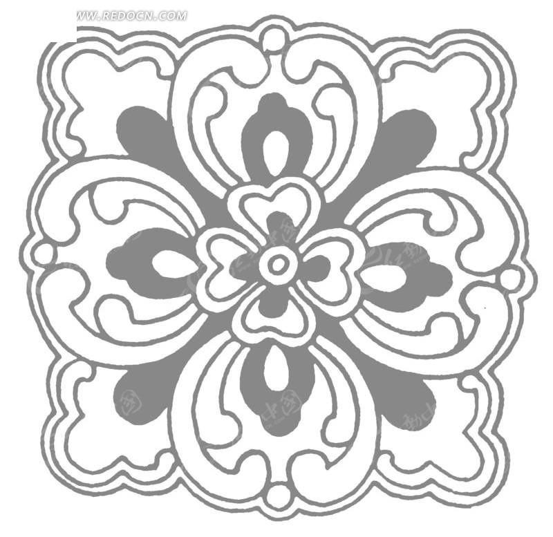 中国古典图案-卷曲纹花朵构成的方形图案