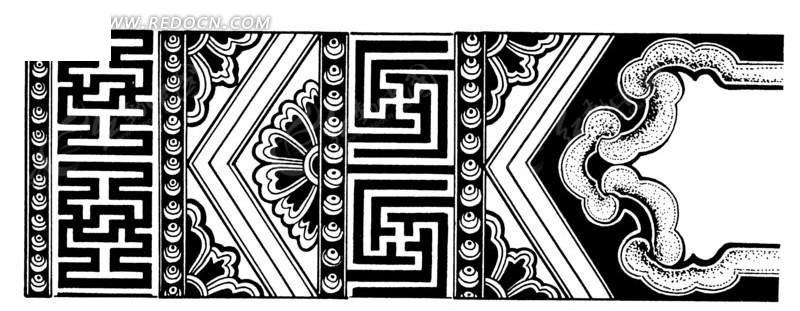 中国古典图案-卍字纹和花朵构成的精美图案