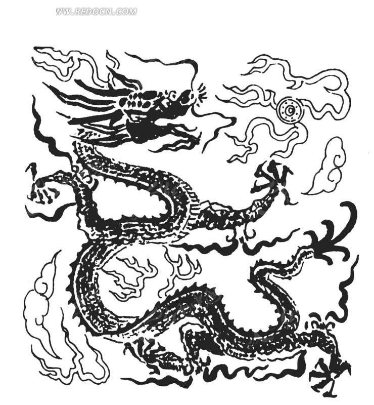 手绘龙珠和飞舞的神龙