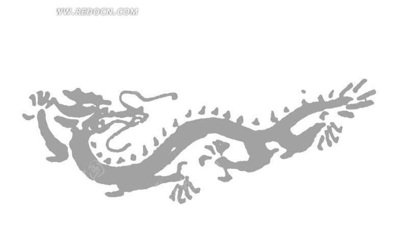 手绘灰色的龙