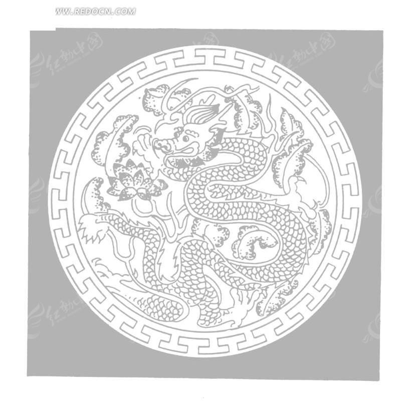 手绘祥云下的的龙矢量图_传统图案