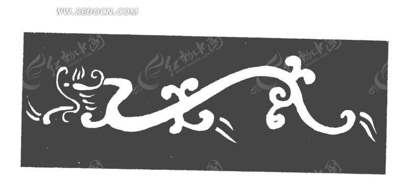 黑色背景上手绘简单白色龙矢量素