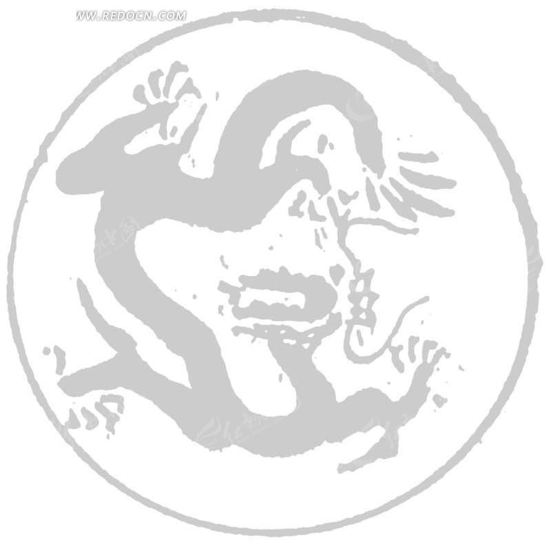 矢量手绘古代龙形插画图形