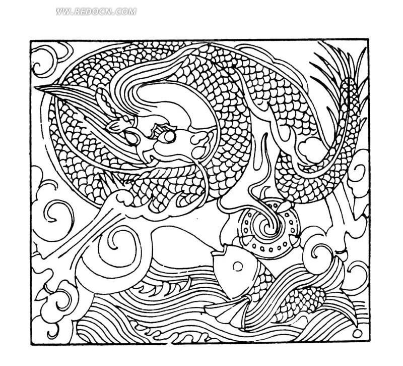矢量手绘中国古代龙纹插画线条