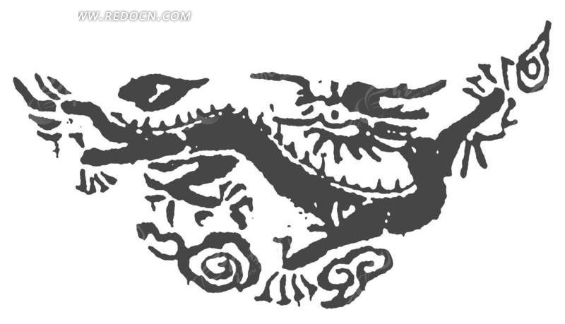 矢量手绘古代龙纹剪影插画图形
