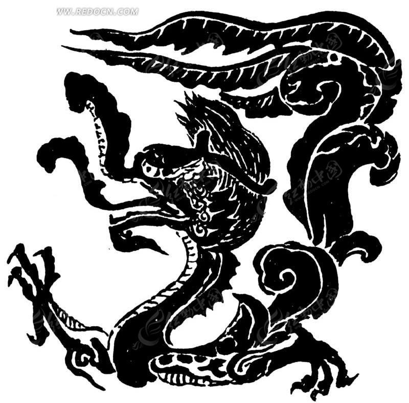 白色背景 矢量文件 手绘插画 古代龙形插画  传统图案 矢量素材