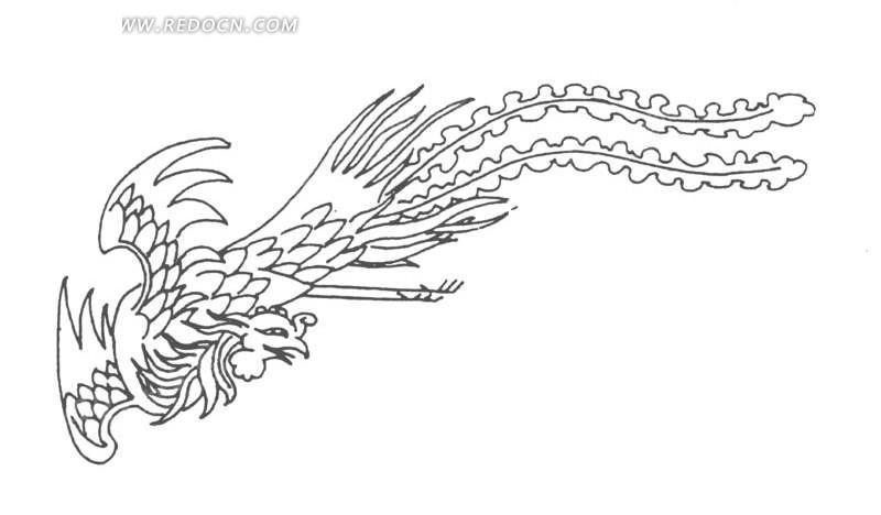 矢量手绘古代凤凰插画图形
