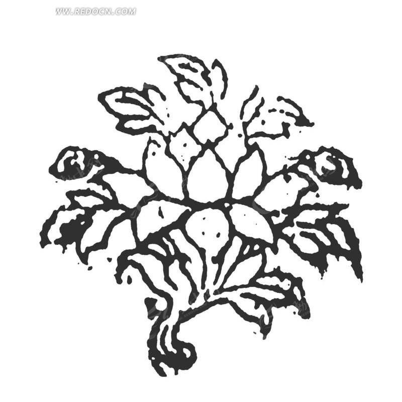 开花的植物拓印图矢量图_传统图案