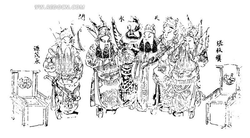 中国古典绘画-许多京剧人物和椅子构成的图案