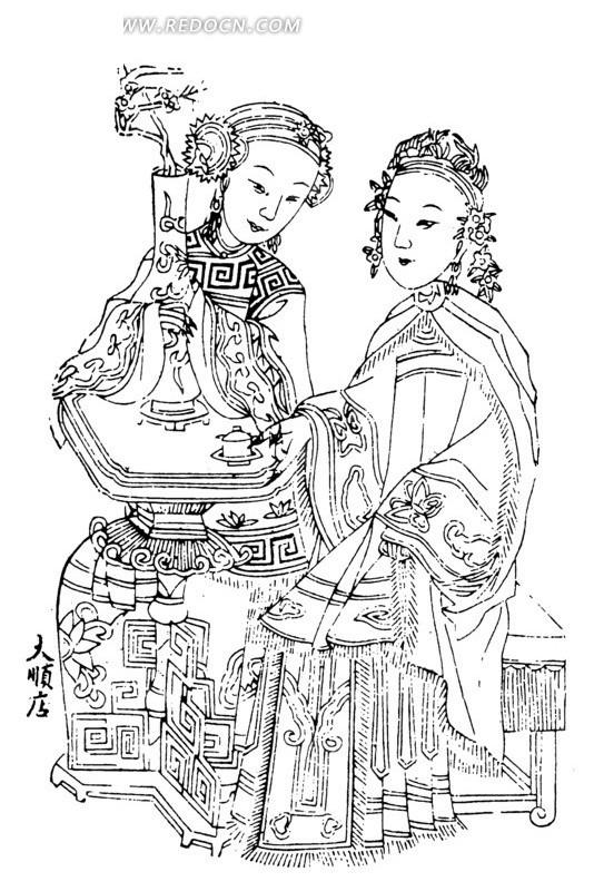 中国年画-抱着花瓶的女子