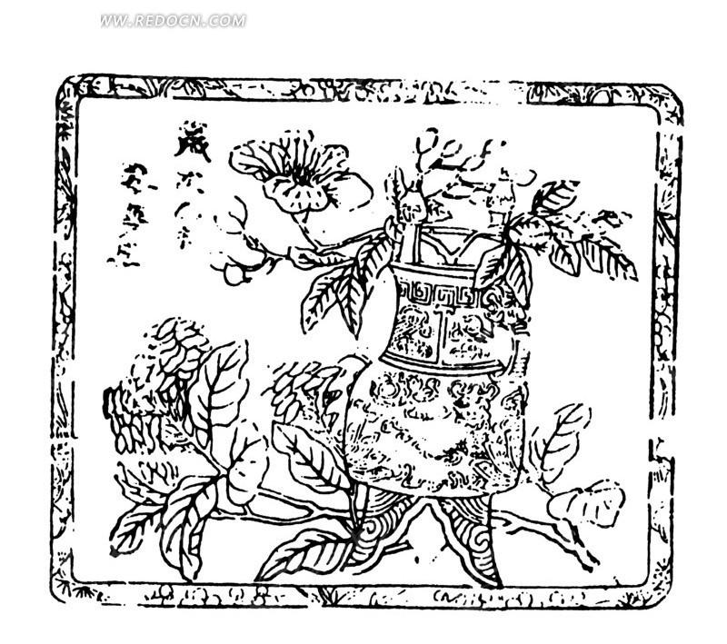矢量手绘古代盆栽花卉图形