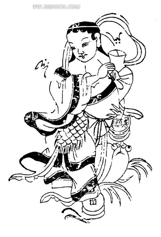 矢量手绘古代神话女士插画图形