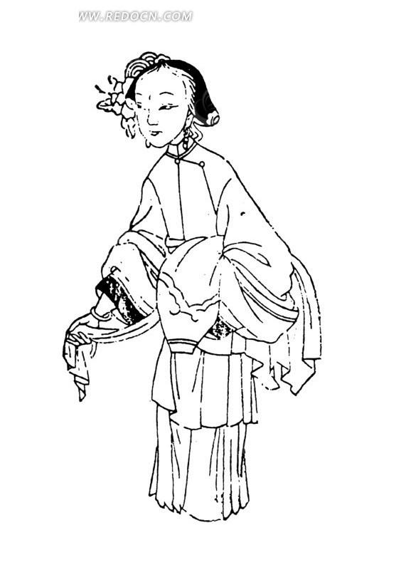 手绘古代妇女插画线条图形
