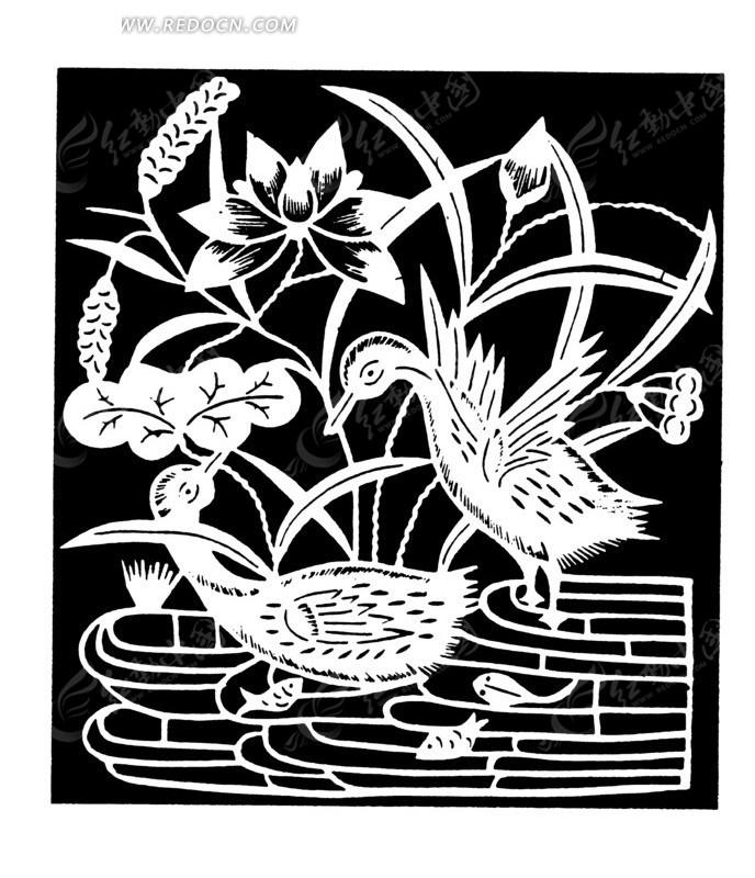 鸳鸯池塘戏水图案素材