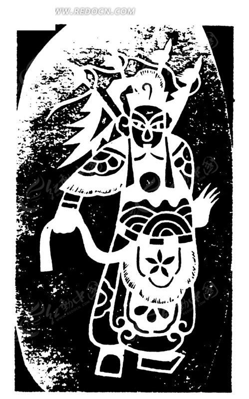 手绘古代唱戏武生矢量素材