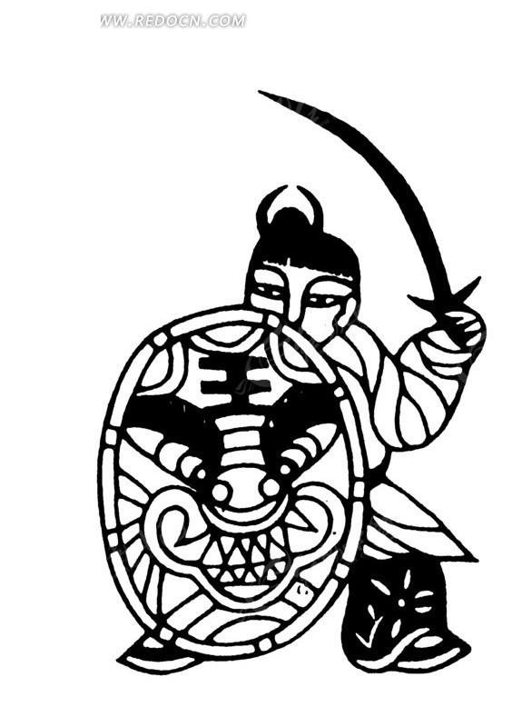 弓步 虎头盾牌 举刀 古代男子 古代人 古代人物 中国风 中国古典