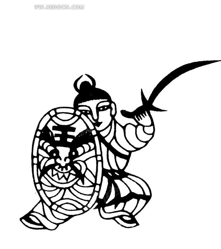 虎头盾牌 举刀 古代男子 古代人 古代人物 中国风 中国古典  黑白