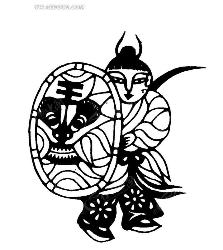 虎头盾牌 背刀 古代男子 古代人 古代人物 中国风 中国古典 艺术 黑白