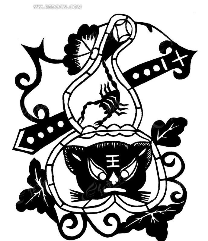 中国古典图案-虎头/蝎子/枝叶构成的图案