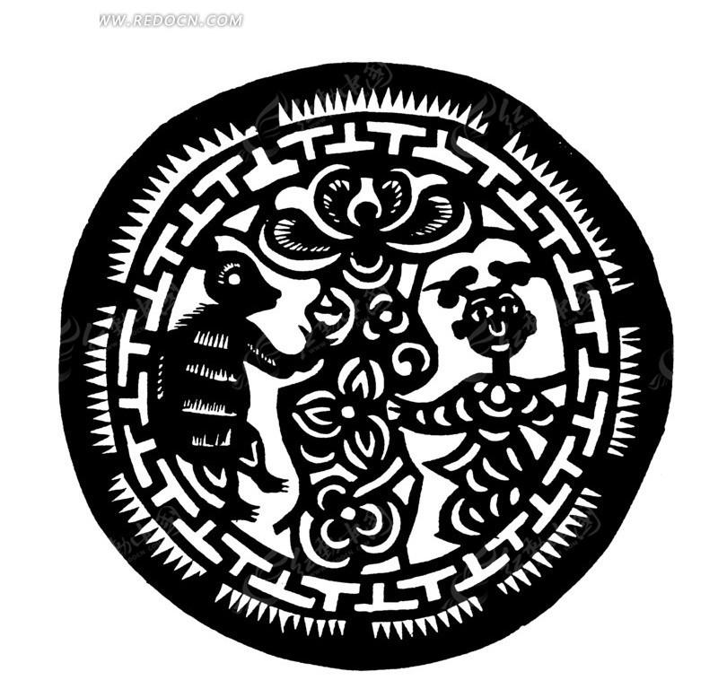 童子/花朵/动物/t字环/穗尖组合圆形剪纸图案
