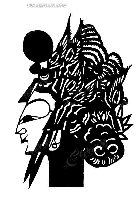 矢量手绘古代人物头像剪纸插画