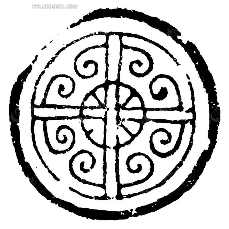 中国古代拓印瓦当图案-双线十字羊角云纹图案图片