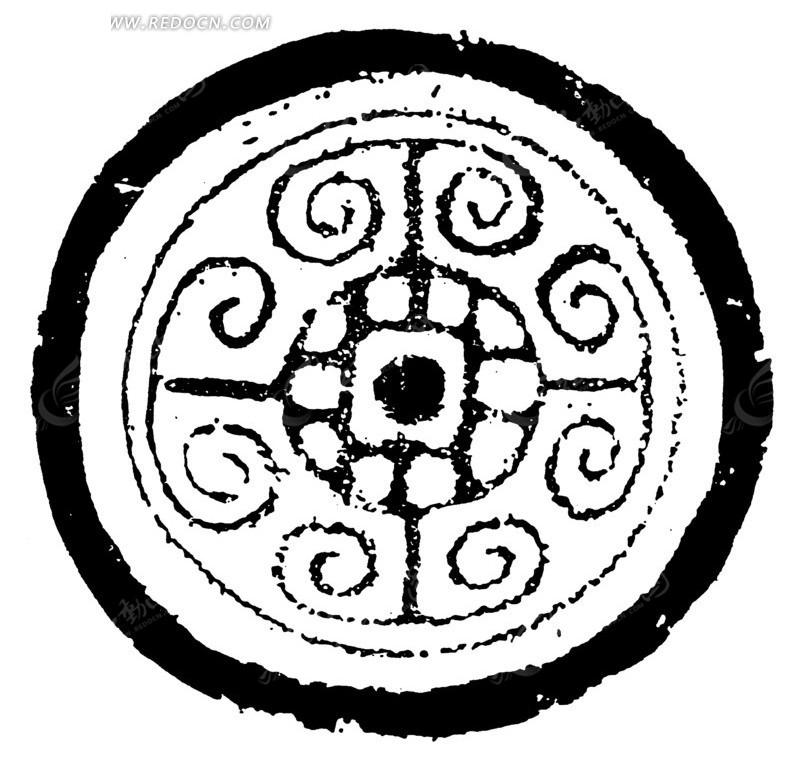 中国古代拓印瓦当图案-目纹羊角云纹图案矢量图图片