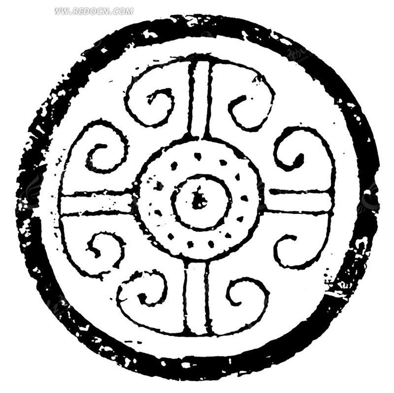 中国古代拓印瓦当图案-圆环点纹羊角云纹图案矢量图图片