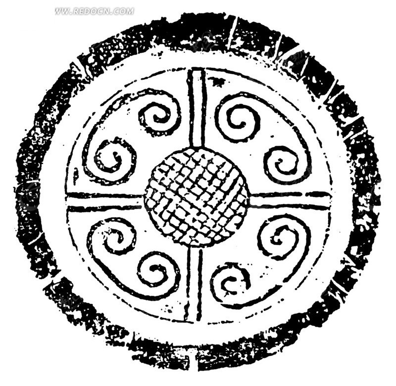 中国古代拓印瓦当图案-方格网纹羊角云纹图案图片