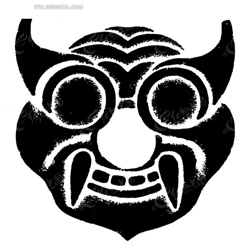 中国古典图案-长獠牙的怪物的头像